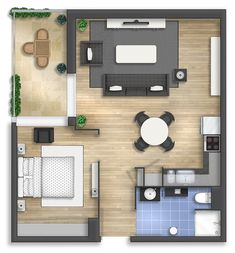 apartment floor plans Floor plan rendering by Floor plan rendering by Sims 4 House Plans, Modern House Plans, Small House Plans, House Floor Plans, Studio Apartment Floor Plans, Studio Apartment Layout, Apartment Design, Small Apartment Plans, Tiny Apartments
