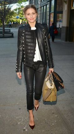 olivia palermo leather jacket - Buscar con Google