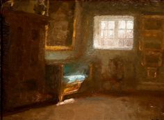 A ray of light hits the blue couch by Julius Paulsen. Oil on cardboard. Blue Couches, Danish, Auction, Oil, Artists, Fine Art, Painting, Blue Sofas, Danish Pastries