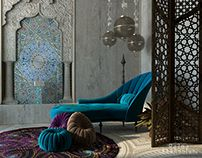 Moroccan Sitting Room on Behance Moroccan Design, Moroccan Style, Modern Bedroom, Master Bedroom, 3d Max, Beautiful Interiors, Modern Contemporary, Furniture Design, Living Room