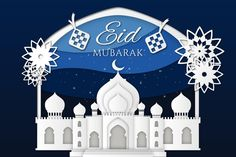 Mosque and flowers paper style eid mubarak , Eid Mubarak Background, Photos For Sale, Stock Photos, Happy Eid Mubarak, Sky Moon, Hanging Candles, Mosque, Ramadan, Paper Flowers
