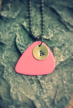 Personalized Bright Pink Guitar Pick Necklace or Keychain on Etsy, $15.25 girls guitar pick jewelry party favor ideas girls birthday idea music themed party guitar party rockstar party gift