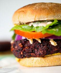 Black & Beet Mushroom-Walnut Veggie Burgers
