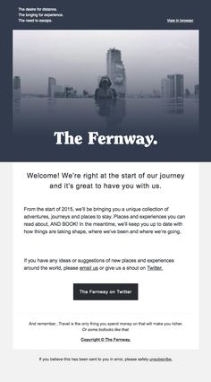 Welcome to The Fernway - Really Good Emails Email Marketing Design, Email Design, Welcome Emails, Email Client, Best Email, Ui Web, Ecommerce, Public, Universe