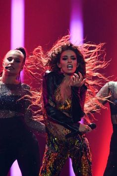 Eleni Foureira performs at Eurovision Song Contest 2018 - Final in Lisbon, Portugal 180512 Lisbon Portugal, Greeks, Stage Outfits, Famous Women, Hair Art, Cyprus, Tvs, Poses, Concert