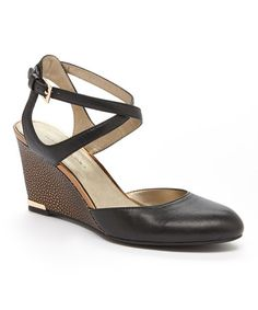 Look what I found on #zulily! Black Tania Leather Wedge #zulilyfinds