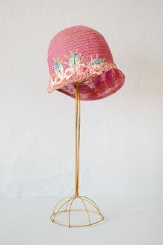 vintage 1920s light violet pink floral cloche hat