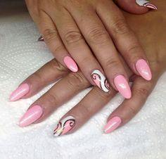 Nails - Sites new Pink Black Nails, Pink Nail Art, Gold Nails, Pink Nail Designs, Nail Designs Spring, Natural Acrylic Nails, Cat Eye Nails, Stiletto Nail Art, Nail Manicure