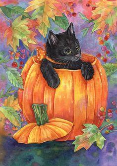 Pumpkin Cat.  Anyone know the artist?