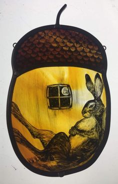 'Hare in an Acorn House' by Tamsin Abbott - [Note to self: sent to A. Glass Painting, Stained Glass Paint, Painting, Glass Design, Rabbit Art, Art, Bunny Art, Fused Glass, Glass Art