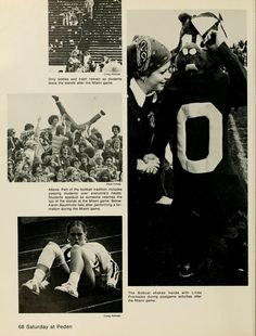 """Spectrum Green yearbook, 1977. """"The Bobcat shakes hands with Linda Prochazka during postgame activities after the Miami game."""" Pictures from the football game against Miami University. :: Ohio University Archives"""