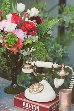 Vintage rotary phone at Wes Anderson inspired wedding with Bash, Please, at the Vibiana in Los Angeles with Found Vintage Rentals Vintage Phones, Vintage Telephone, Pink Flower Photos, Pink Flowers, Boudoir, Estilo Shabby Chic, 100 Layer Cake, Ideas Geniales, Wes Anderson