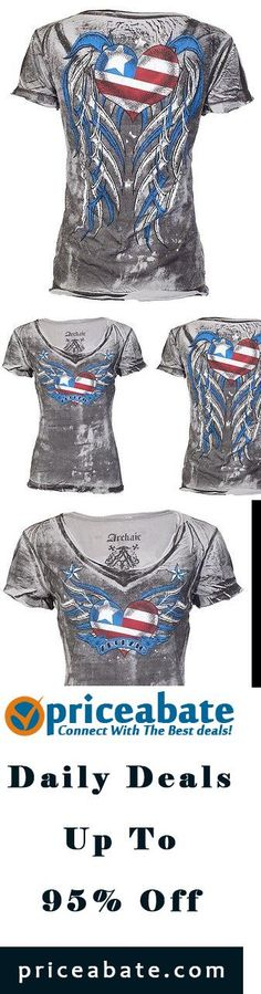 #priceabatedeals Archaic AFFLICTION Women T-Shirt AMERICAN LOVER Biker USA FLAG Sinful S-XL $40 b - Buy This Item Now For Only: $14.99