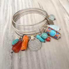 Lucky Charms Bangle Stack  Turquoise and Orange by GypsyIntent