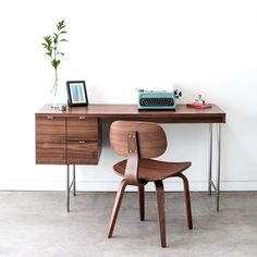 Buy Conrad Desk from Gus Modern. The Gus Modern Conrad Desk is a compact home office desk with a strong Mid-Century pedigree. All surfaces are finished . Modern Office Desk, Home Office Desks, Home Office Furniture, Modern Furniture, Furniture Sets, Small Office, Compact Furniture, Retro Office, Furniture Direct