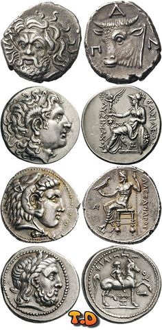 Greek coins, Thrace-Macedon from top to bottom: Tauric Chersonesos Pantikapaion AR Drachm; Alexander III (The Great) tetradrachm; Greek History, Ancient History, Numismatic Coins, Alexandre Le Grand, Coin Store, Coin Art, Gold And Silver Coins, Antique Coins, Greek Art