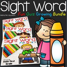 Growing Bundle/Kindergarten/First Grade/Second Grade/Sight Word Activities/ Formatted quiz worksheet, students will have multiple choice question, color, count, dab, cut and paste puzzles, and match the pictures with sentences.