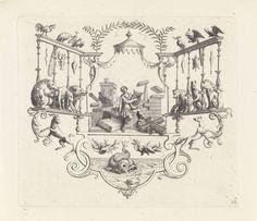 Bernard Picart | Amphion bespeelt de lier, Bernard Picart, 1718 | Als Amphion op de lier speelt, komen de stenen in beweging en vormen zich tot een muur om de stad Thebe. Links en rechts in de ornamentele lijst kijken dieren toe. Onderaan een walvis en een krab.
