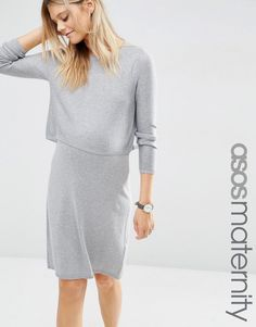 ASOS+Maternity+Double+Layer+Knit+Dress+in+Cashmere+Mix