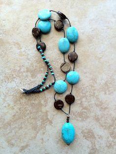 Ciondolo in pietra turchese collana di perle di di FrancaandNen