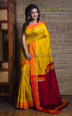 Elegant Handloom Khadi Cotton Silk Saree in Yellow and Maroon