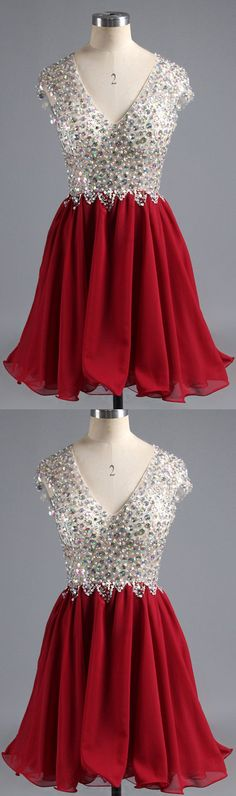 Beaded/Beading Party Dresses, Red A-line/Princess Prom Dresses, Short Red Party Dresses, Sexy V-neck Homecoming Dress Red Chiffon Short Prom Dress Party Dress Unique Homecoming Dresses, Cheap Short Prom Dresses, Burgundy Homecoming Dresses, Cheap Homecoming Dresses, V Neck Prom Dresses, Beautiful Prom Dresses, Prom Party Dresses, Graduation Dresses, Formal Dresses