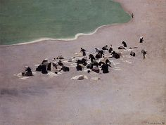 Felix Vallotton Washerwomen at Etretat (also known as Woman Drying Laundry on the Beach) hand painted oil painting reproduction on canvas by artist Pierre Bonnard, Manet, Edouard Vuillard, Harmony Art, Robert Rauschenberg, Principles Of Art, Hyperrealism, Art Database, Impressionism