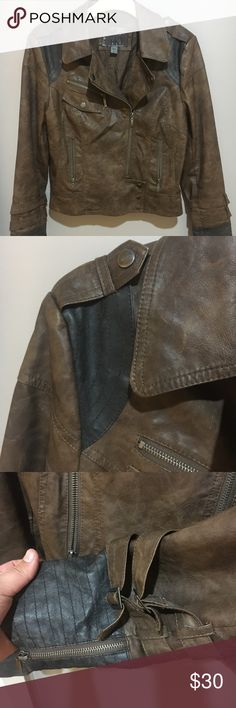 Bke faux leather jacket Love this vintage looking jacket so cute for fall! Some minor tearing notes in pictures Buckle Jackets & Coats