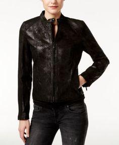 Calvin Klein Leather Bomber Jacket | macys.com