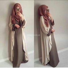Mauve-beige-taupe - check out: Esma & Modest Fashion Hijab, Hijab Chic, Abaya Fashion, Fashion Dresses, Muslim Dress, Hijab Dress, Hijab Outfit, Mode Abaya, Mode Hijab