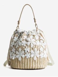 DCOS New Lace Straw bag Simple Literary Clean Bucket Bag Girls Fashion Wild Shoulder Messenger Bag Straw Handbags, Tote Handbags, Leather Handbags, Tote Purse, Hobo Bag, Crossbody Bag, Lace Weave, Beautiful Handbags, Girls Bags