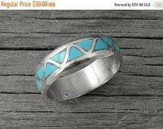 Zuni Turquoise Inlay Band Ring Size 10.75, Sterling Silver Ring, Turquoise Ring,Wedding Ring,Zuni Band,Indian Jewelry Wedding Band