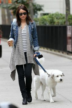 What to Wear: While Walking the Dog // Olivia Wilde managed to look casual-cool in a stripe tee and denim jacket