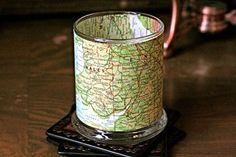 Vintage map candle holder