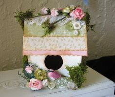 Little Shabby Birdhouse Home Decor by KatiesKreations4U on Etsy, $11.99
