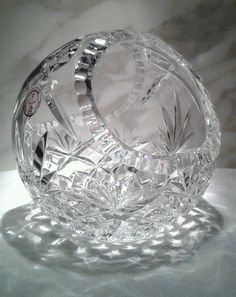 Hand Cut 24% lead Crystal Clear Industries made in Poland basket  #CrystalClearIndustries