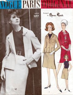 Vogue sewing patterns Paris Original by Nina Ricci, dress and jacket suit, pattern number 1177, Bust 36 inches, Vintage sewing patterns. Suit and