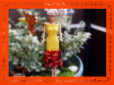 Puppenkleidung - gestricktes Kleid *** für Barbie *** gelb/orange - ein…