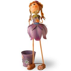 Tin Flower Girl with Pot, Purples/Lavenders