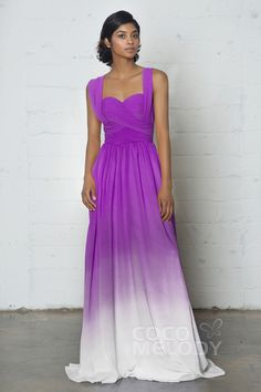 Perfect Sheath-Column Sweetheart Natural Floor Length Ombre Chiffon Sleeveless Zipper Pleating COZF17011#Cocomelody#partydresses#promdress#