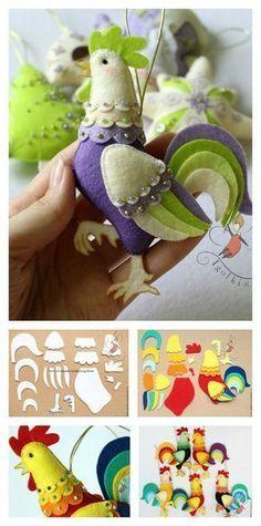 DIY Felt Rooster Ornament Craft Tutorial #feltcrafts #crafts #diyornaments