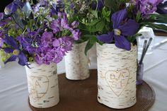 Birch Tree Centerpieces with Purple Wildflowers