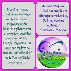 Scripture and Prayer #atruegospelministry