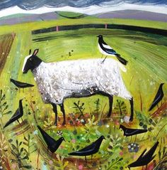 illustration, animal, sheep, bird, crow, raven, dove. floral, naive. 1 jul 13 [mary sumner]
