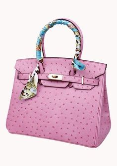 Classic Fashion Scarf Ostrich Leather 35CM Tote Bag Pink