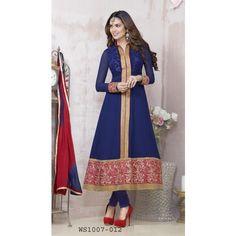 Esha Gupta Blue New Embroidered Anarkali Suit
