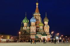 Russia's St Basils Cathedral Awesome at night!