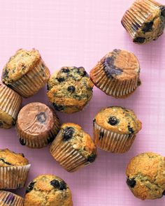 Healthy Banana-Blueberry Muffins: Plenty of people have their own go-to muffin recipe, but this light, moist rendition is hard to beat. If the bananas on your countertop are looking overripe, don't throw them out; they'll add even more flavor to these muffins.