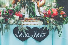 Novia and Novio signs at sweetheart table Sweetheart Table, Wedding Signs, Wedding Stuff, Here Comes The Bride, Spring Wedding, Wedding Details, Wedding Colors, Table Decorations, Fun