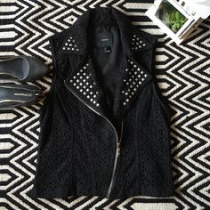 Forever21 studded vest New without tag. Forever 21 studded vest. Size L. Shell 100% cotton, lining 100% polyester. Forever 21 Jackets & Coats Vests